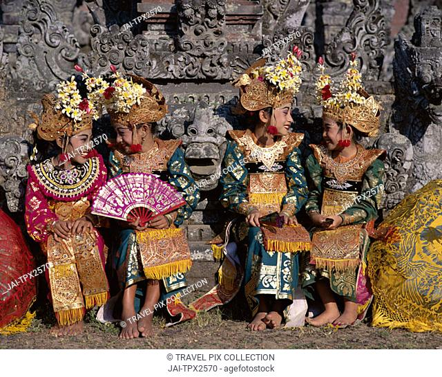Legong Dancers / Girls Dressed in Traditional Dancing Costume, Bali, Indonesia