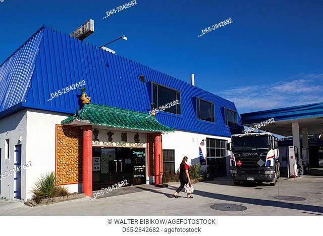 New Zealand, South Island, Canterbury, Timaru, combination Chinese Restaurant and filling station