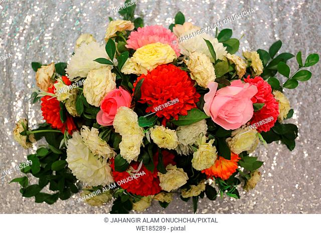 Silver Background Hand made paper flower, Wedding decoration and colorful wedding stage in Bangladesh