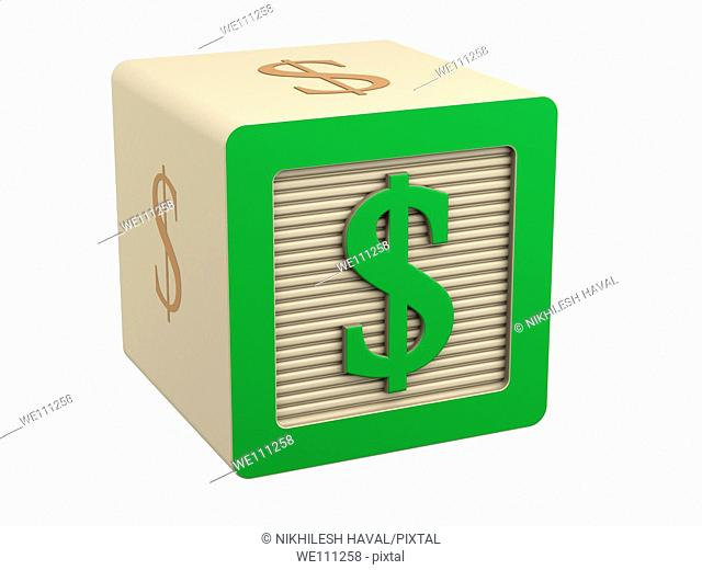 toy wooden block green dollar currency symbol sign
