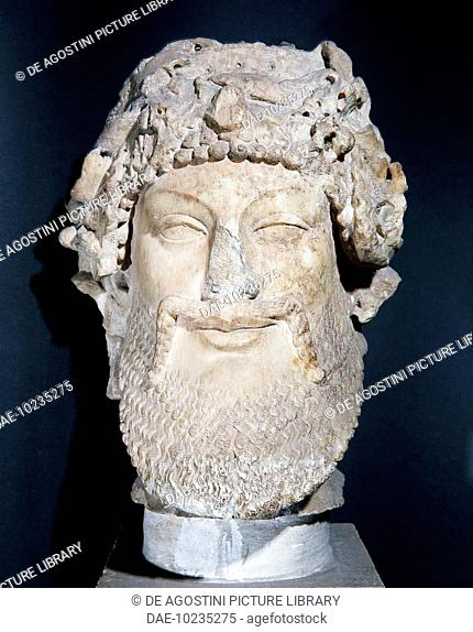 Head of Priapus, Pentelic marble sculpture, height 26 cm, Augustan age reworking from late 6th century BC model. Greek civilisation