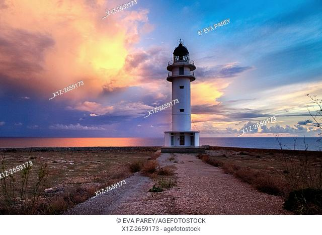 The lighthouse of Es Cap de Barbaria. Formentera (Balearic Islands)