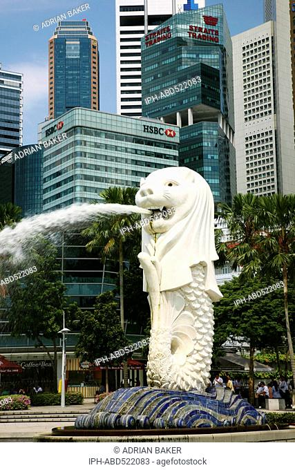 Asia Singapore The Merlion, one of Singapore's most famous landmarks Adrian Baker