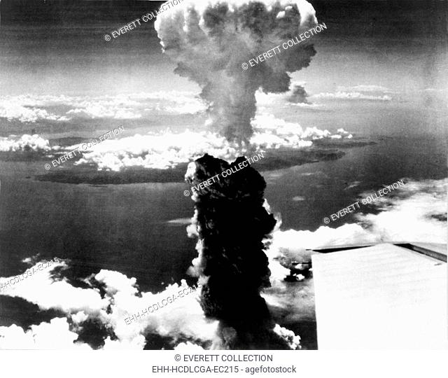 Atomic bomb. A mushroom cloud rises more than 60,000 feet into the air over Nagasaki, Japan after an atomic bomb was dropped by the US bomber Enola Gay, Aug