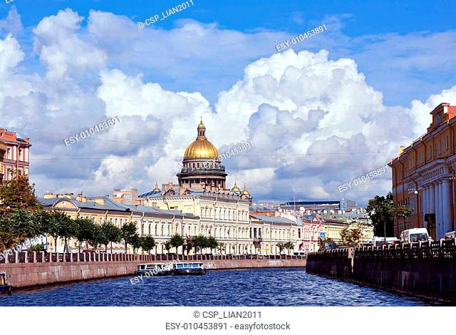 Dome of Saint Isaac's Cathedral in St. Petersburg in summer. Russia