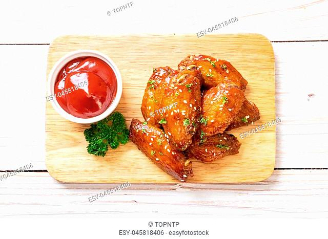 baked barbecue chicken wings with white sesame