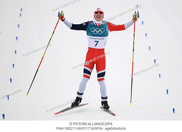 Simon Hegstad Krueger from Norway celebrates his victory at cross-country skiing in Pyeongchang, South Korea, 11 February 2018 Photo: Hendrik...