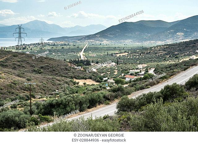 Roads, olive plantations and the sea