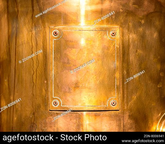 copper or bronze frame with rivets