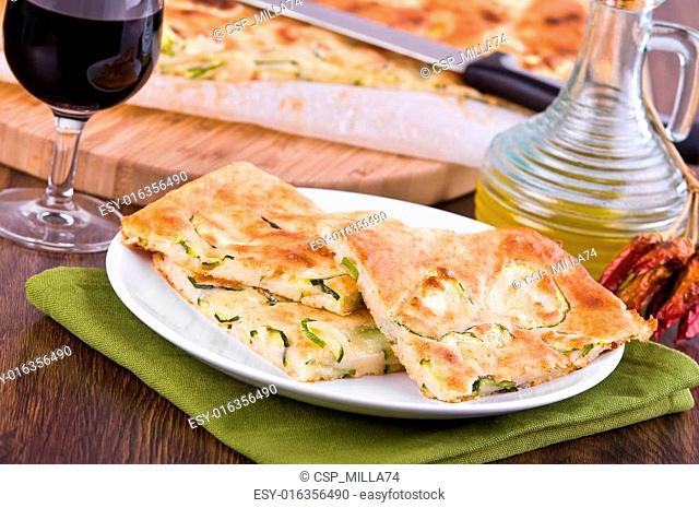 Focaccia with zucchini
