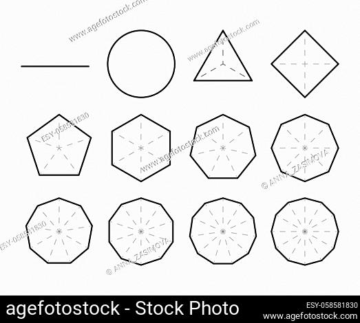 Set of geometric shapes. Polygons. Set of polygon shapes with different sides