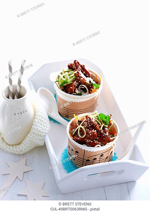 Cups of beef and noodles