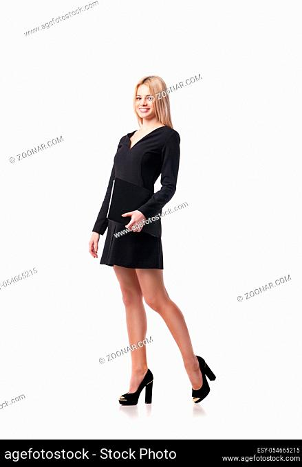 Business woman holding folder and looking up. Isolated on white