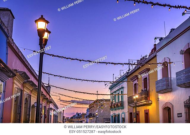 Colorful Mexican Red Yellow Illuminated Street Street Lights Evening Night Oaxaca Juarez Mexico