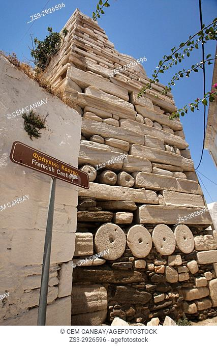 View to the Frankish castle in Parikia town, Paros, Cyclades Islands, Greek Islands, Greece, Europe