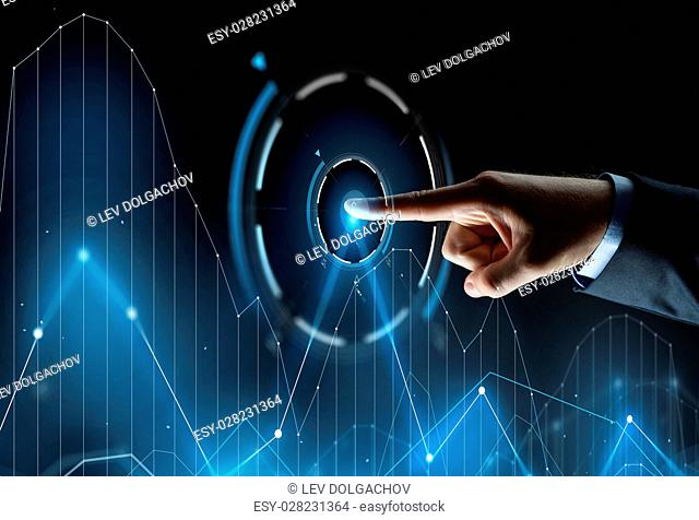 business, people and technology concept - close up of businessman hand pointing finger to chart on virtual screen projection over black background