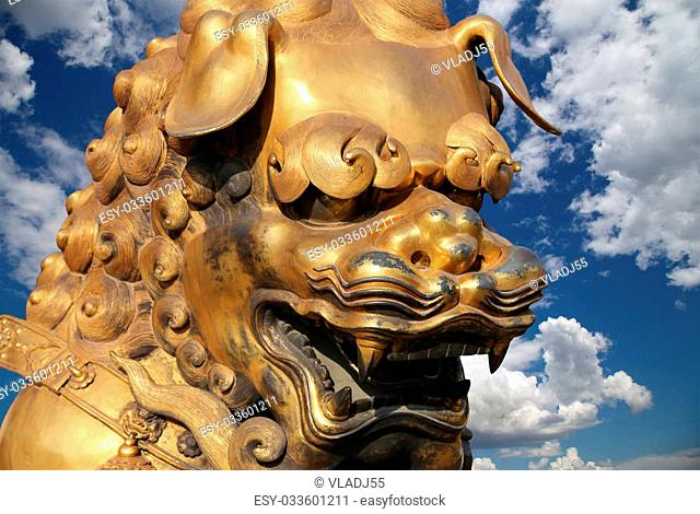 A bronze Chinese dragon statue in the Forbidden City. Beijing, China