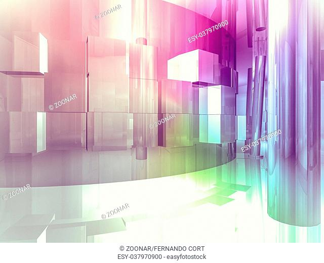 showroom, open space, clean room with shapes in 3d, business space, hospitals or art gallery