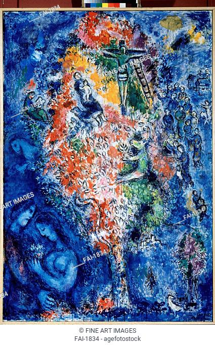 The Tree of Jesse (The Holy Tree). Chagall, Marc (1887-1985). Oil on canvas. Modern. 1975. Private Collection. 130x81. Painting. © VG-Bild-Kunst Bonn