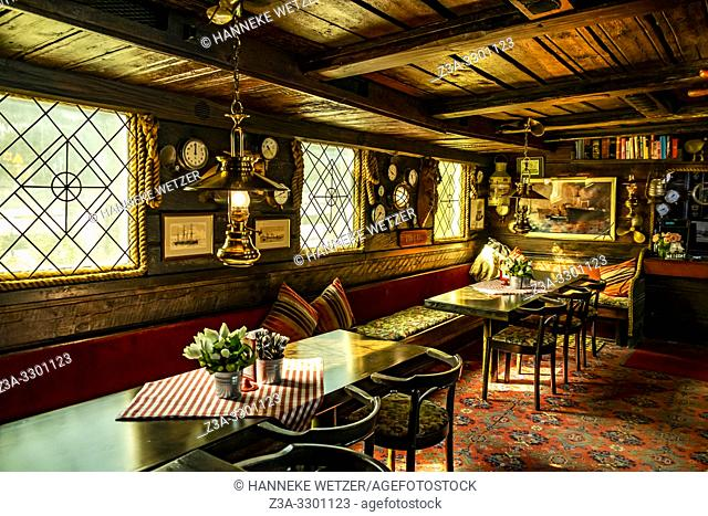 Historical interior of the Red Boat in Sweden