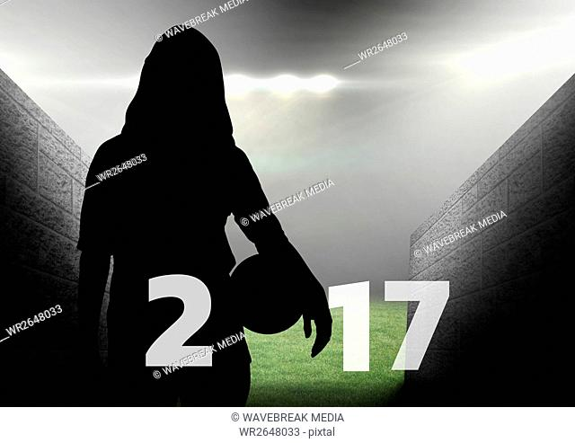 Silhouette of woman holding ball forming 2017 new year sign 3D