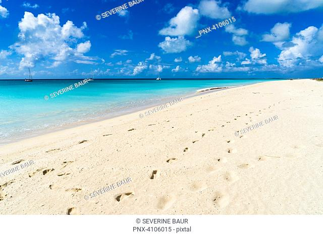 On leeward, the deserted beach extends for around 17 miles, and it is the longest beach of Caribbean islands, Barbuda, Antigua and Barbuda, West Indies