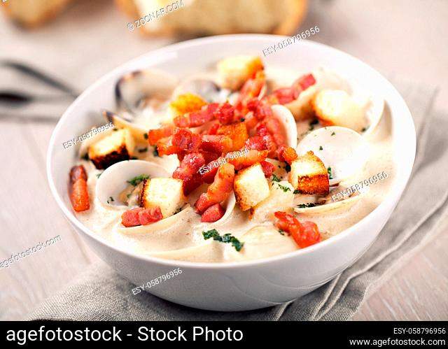 Creamy Clam Chowder on a plate. High quality photo