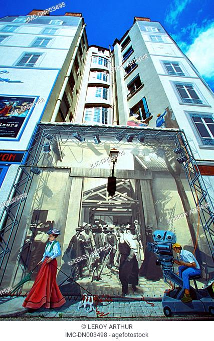 France, Rhone Alpes, Lyon, mural paintings