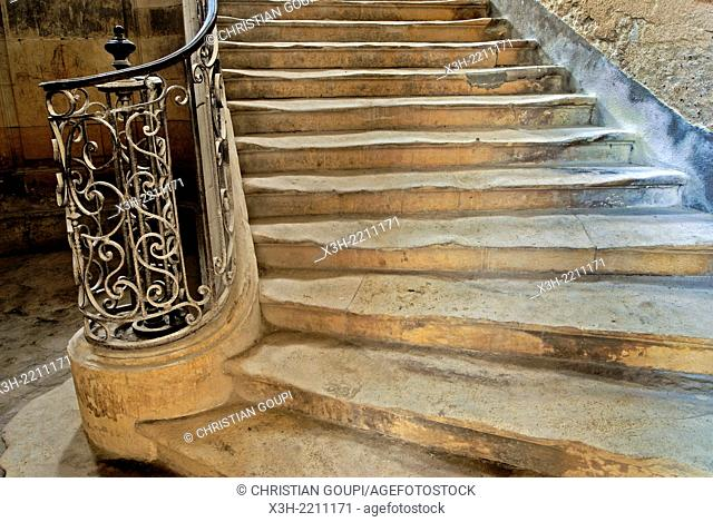 staicase of the Grand Priory at La Charite-sur-Loire, Nievre department, Burgundy region, France, Europe