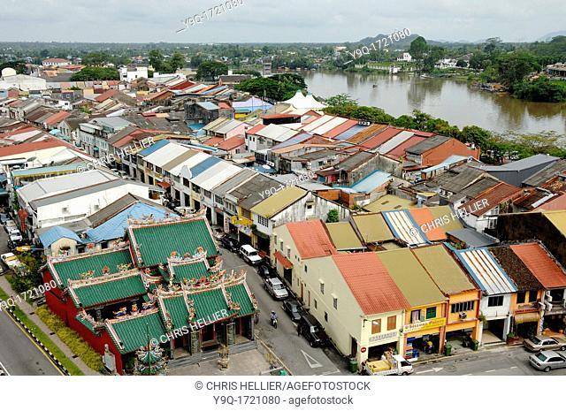 View over Chinatown Kuching Sarawak Borneo Malaysia