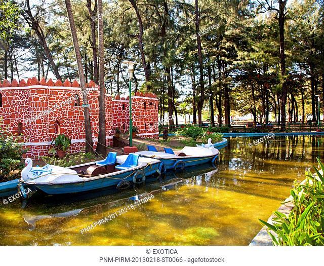 Boats in a pond, Campal Gardens, Panaji, North Goa, Goa, India