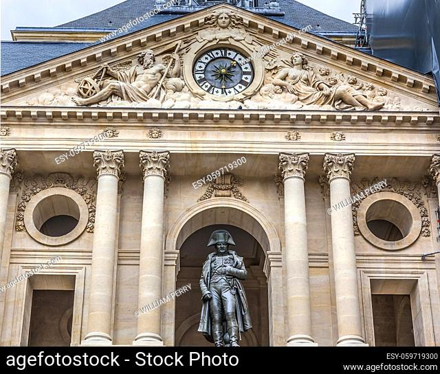 Napoleon Statue Courtyard Les Invalides Paris France. King Louis IV created church 1670. Invalides became a large military muesum with tombs military figures