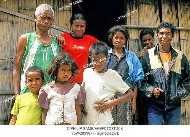 East Timor. Apolinario Da Costa Ximenes, his wife Ines Guterres and members of their family at home in Venilale, an inland town on the north coast