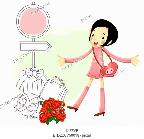 Girl standing by flower bouquet