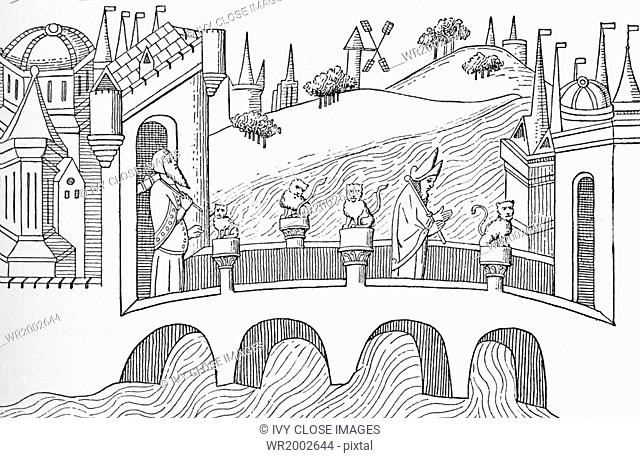 This illustration in Sir Henry Yule's The book of Marco Polo pubished in 1871 is labelled: The Bridge of Pulisanghin (reduced from Poplo's <ivre des Merveilles)