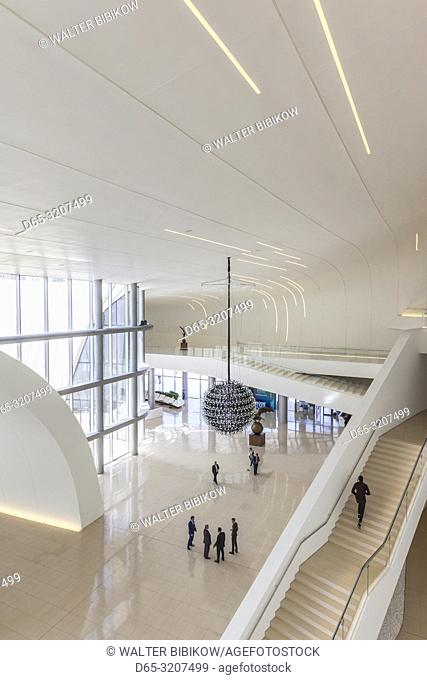 Azerbaijan, Baku, Heydar Aliyev Cultural Center, building designed by Zaha Hadid, interior withg visitors, NR