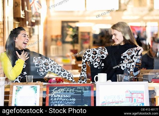 Happy young women friends with matching sweaters in cafe window