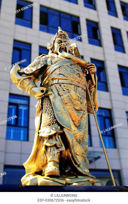 TANGSHAN CITY - AGGUST 31: The the general GuanYU bronze sculpture in ancient China on August 31, 2013, tangshan city, Hebei province, China