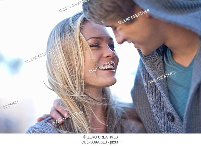Close up of romantic young couple