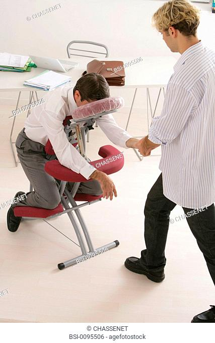 Models. Massage 'Seated massage'. Massage takes place at the office or at home. The seated massage is given to people dressed without any oil on an ergonomic...