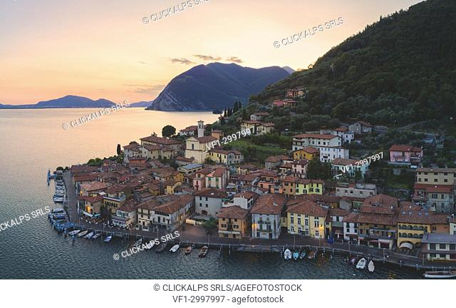 Aerial view from Iseo lake at sunset, Brescia province, Lombardy district, Italy