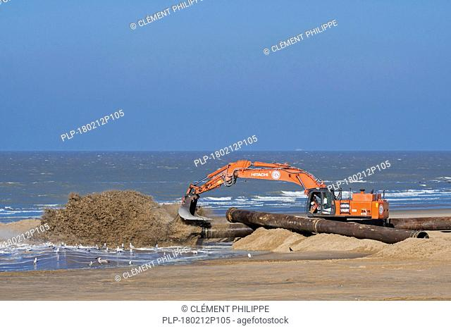 Hitachi Zaxis 470 LCH, crawler hydraulic excavator used by Dredging and Marine Works Jan De Nul for sand replenishment / beach nourishment at Ostend