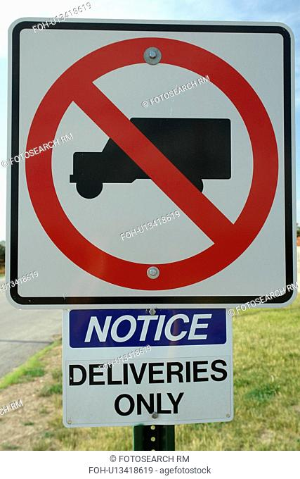 Council Bluffs, IA, Iowa, road sign, no trucks, deliveries only, regulatory sign