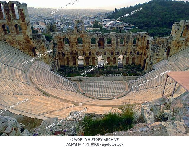 The Odeon of Herodes Atticus, on the southwest slope of the Acropolis of Athens, Greece. The building was completed in 161 AD and then renovated in 1950