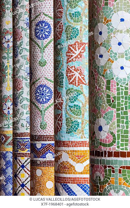 Columns in the Art Nouveau facade of Palau de la Musica, by Lluis Domenech i Montaner, Barcelona, Spain