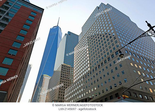 World Financial Center and One World Trade Center, Lower Manhattan, New York, USA
