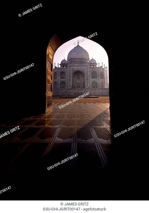 Taj Mahal Viewed through Gateway at Sunrise, Agra, India