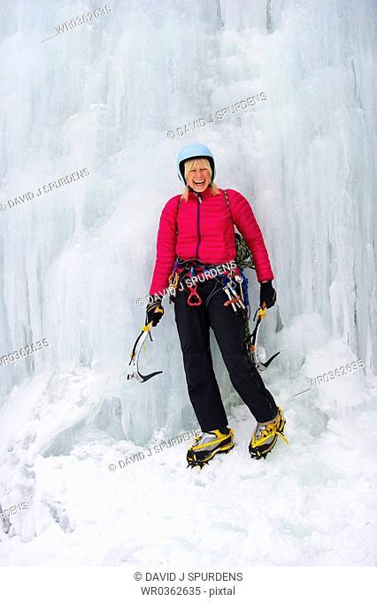 Ice climber having fun