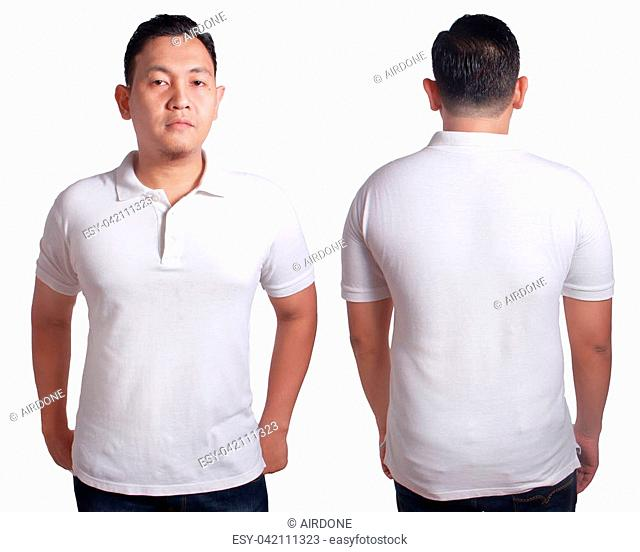 Blank polo shirt mock up, front, and back view, isolated on white. Asian male model wear plain white tshirt mockup. Clothes uniform design presentation for...