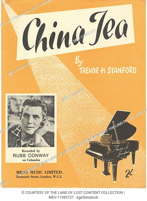 Song Sheets - china tea, graphic illus, piano, vintage font, russ conway photo.